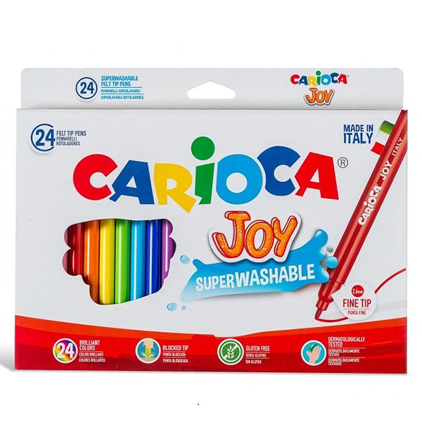 24 pennarelli Carioca Joy - Pennarelli Carioca Joy 24 pennarelli. Inchiostro superlavabile atossico, lavabile dalla pelle con acqua senza sapone. Prodotto Made in Italy.