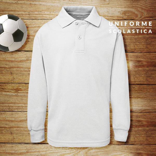 Polo bianca manica lunga - Polo bianca manica lunga con collo e polsino in costina. Questa Polo è pensata per essere indossata nei giorni d'inverno sotto un maglione.