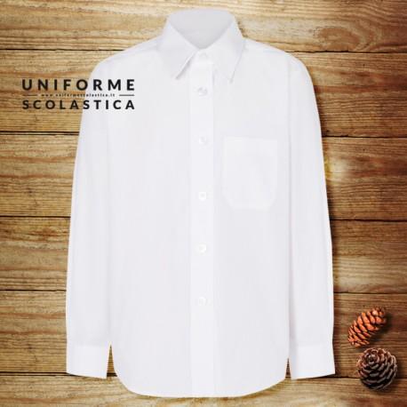 Camicia ragazza manica lunga - La camicia bianca con manica lunga è un capo molto utilizzato nelle scuole di tutto il mondo come divisa. Il capo dispone di un pratico taschino.