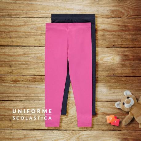 Confezione leggings 12-18 mesi - I nostri pantaloni leggings per bambina sono realizzati con un tessuto ricco di cotone, e sono disponibili in due tonalità rosa e navy. Il colore navy è molto utilizzato nelle materne.