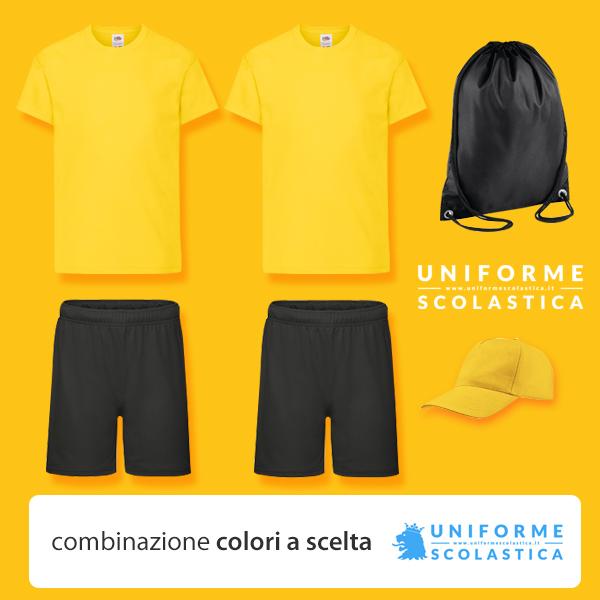 Divisa Summer Camp bambino - La divisa summer camp bambino è composta da due T-shirt bambino, due pantaloncini, sacca per vestiti e un pratico cappellino.