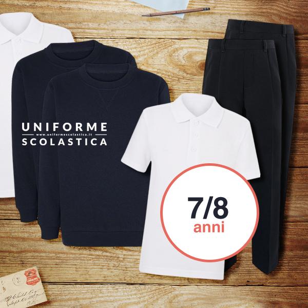 Due uniformi scolastiche 7-8 anni  - Due uniformi scolastiche taglia 7-8 anni complete di polo bianca, pantalone formale regolabile, felpa girocollo tinta unita unisex colore navy.
