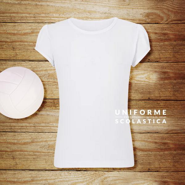 Maglietta girocollo bianca ragazza - Maglietta girocollo bianca ragazza. Con questa maglietta girocollo tua figlia si sentirà a suo agio durante le lezioni di educazione fisica.