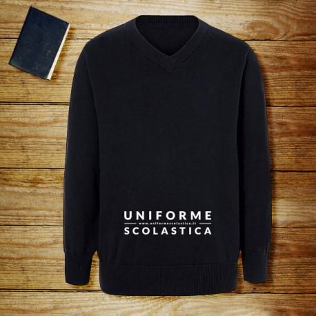 Maglione scollo V Navy - Maglione scollo a V unisex, ideale per la stratificazione nei giorni più freddi. Maglione in cotone per uniforme, comodo ed elegante.
