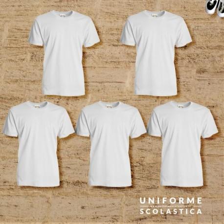 Pacco t-shirt bianca - Nel nostro pacco troverai cinque t-shirt, realizzate con cotone ring-spun. Grazie a questo cotone la t-shirt è resistente e allo stesso tempo morbida.