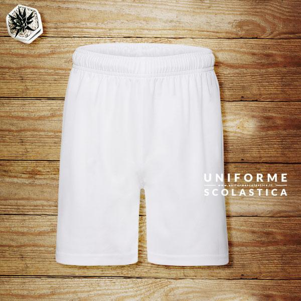Pantaloncini bambino bianchi - Pantaloncini bambino bianchi per le attività sportive. Pantaloncini traspiranti con elastico in vita e cordoncino. Asciugatura rapida.<br>