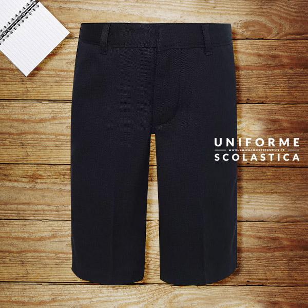 Pantaloncino per scuola blu navy - Pantaloncino da scuola per ragazzi blu navy, gamba snella. Con due comodo tasche frontali. Vita regolabile, chiusura zip e gancetti.