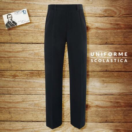 Pantalone formale regolabile - Pantalone formale a vita regolabile con speciale trattamento al teflon. Colore blu navy. Unisce praticità e stile formale in un unico capo.