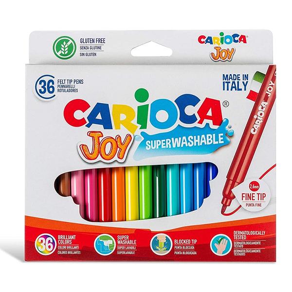 Pennarelli Carioca 36 - Pennarelli Carioca Joy 36 pennarelli. Inchiostro superlavabile atossico, lavabile dalla pelle con acqua senza sapone.