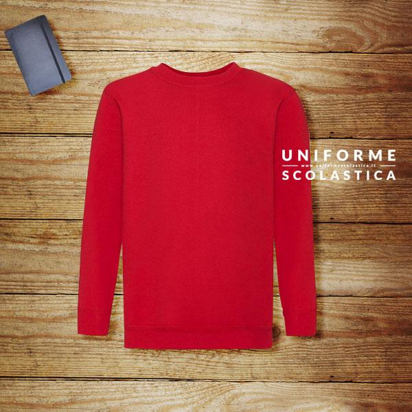 Pullover rosso scuola - Pullover rosso scuola. Unisex. Girocollo. Base, scollatura e polsini a costine in cotone/Lycra. Composizione 80% cotone, 20% poliestere.