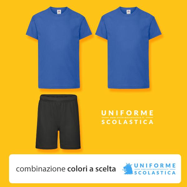 Summer Camp - Maglietta unisex a maniche corte blu Royal e pantaloncino nero. L'abbinamento classico utilizzato nei summer camp.