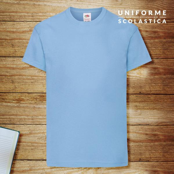 T-shirt manica corta azzurra - T-shirt manica corta azzurra. Fruit of the Loom. Modello Kids Original T. Modello unisex. Colore e cuciture resistenti. Lavabile in lavatrice a 40 gradi.