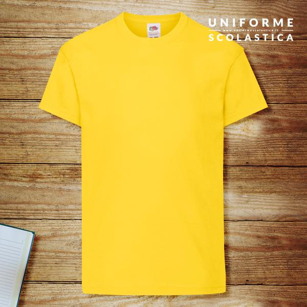 Maglietta bambino gialla - Maglietta bambino gialla. T-shirt Kids Original T Fruit of the Loom. Modello unisex. Colore e cuciture resistenti. Lavabile a 40 gradi. Colore giallo.