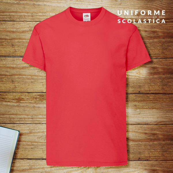Maglia rossa bambino - La maglia rossa bambino Kids Original T marca Fruit of the Loom è realizzata al 100% in cotone filato Belcoro. Grammatura 145 g/m².